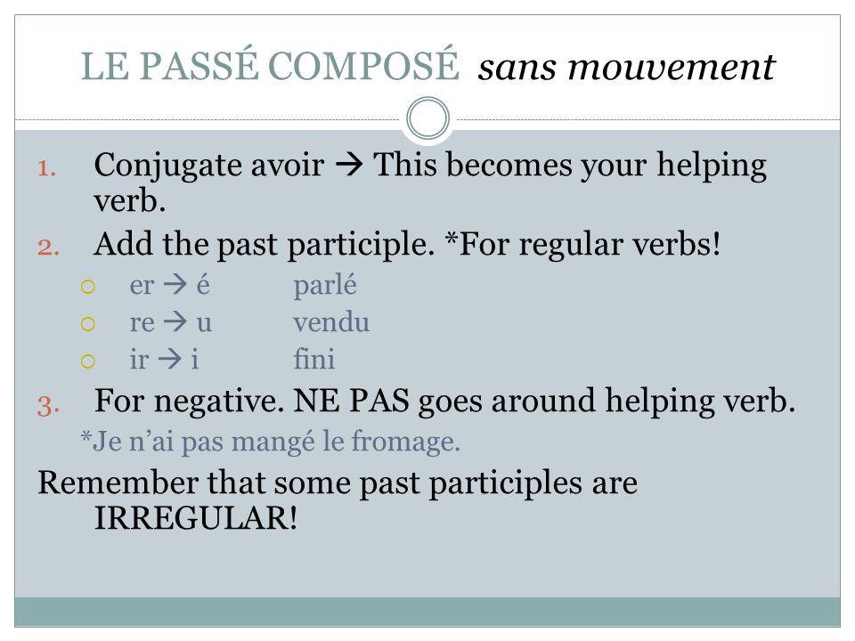LE PASSÉ COMPOSÉ sans mouvement 1. Conjugate avoir  This becomes your helping verb. 2. Add the past participle. *For regular verbs!  er  éparlé  r