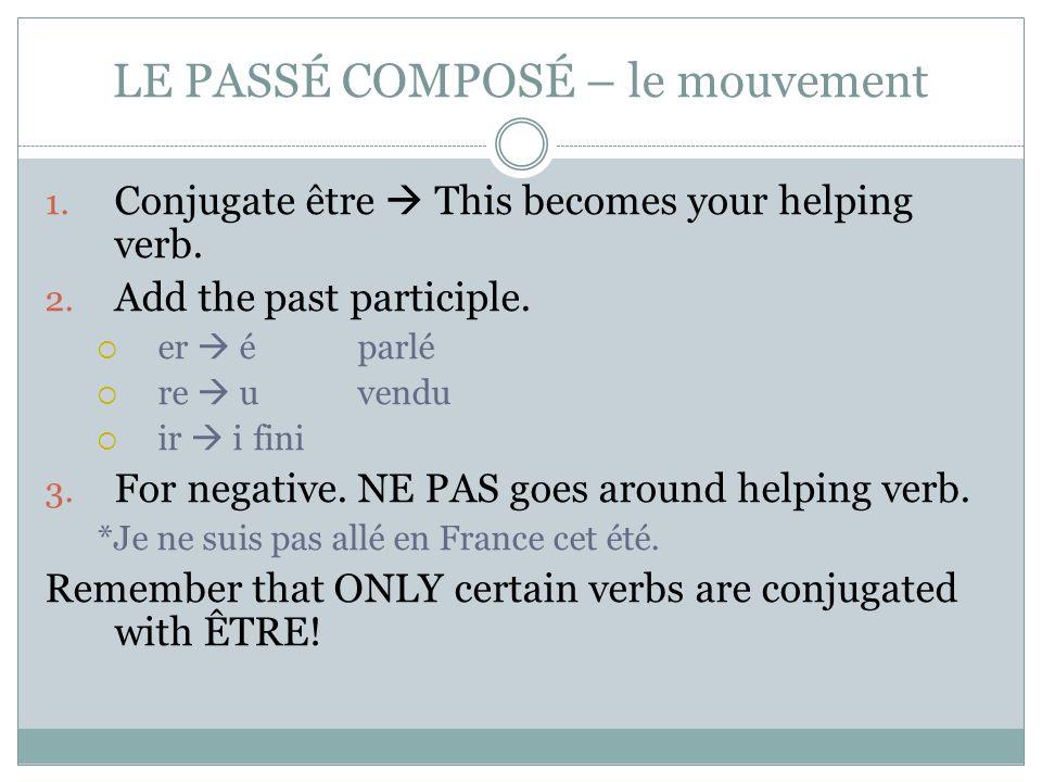 LE PASSÉ COMPOSÉ – le mouvement 1. Conjugate être  This becomes your helping verb. 2. Add the past participle.  er  éparlé  re  uvendu  ir  ifi