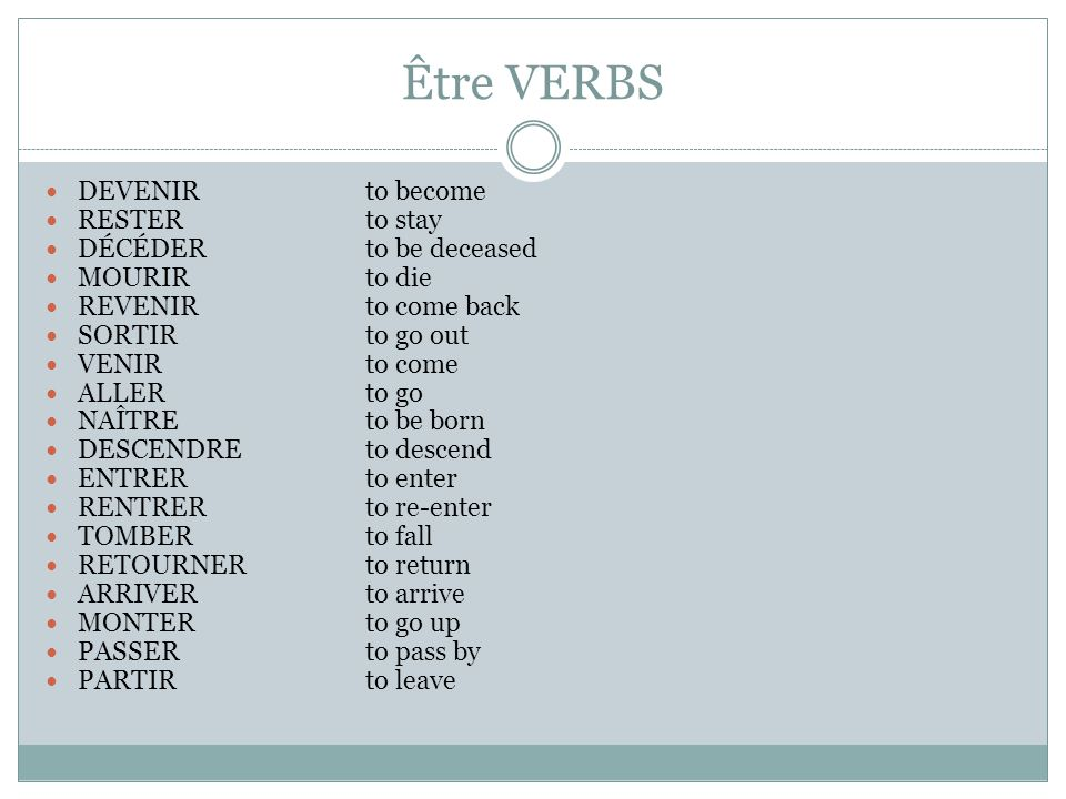 IMPORTANT REMINDER. The être verbs require AGREEMENT.