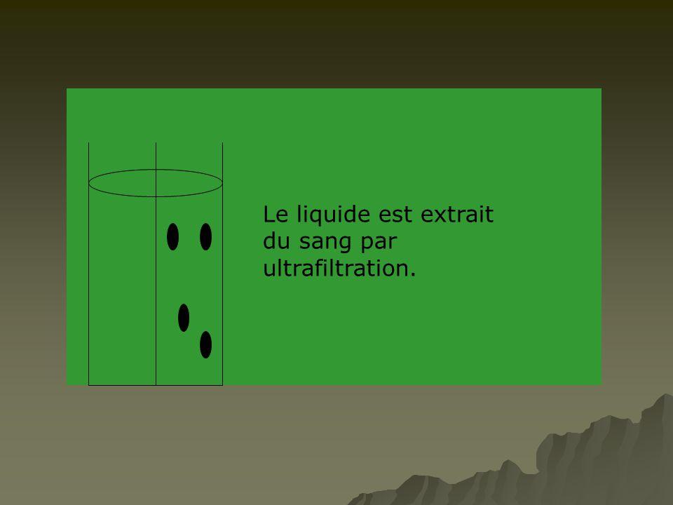 Le liquide est extrait du sang par ultrafiltration.