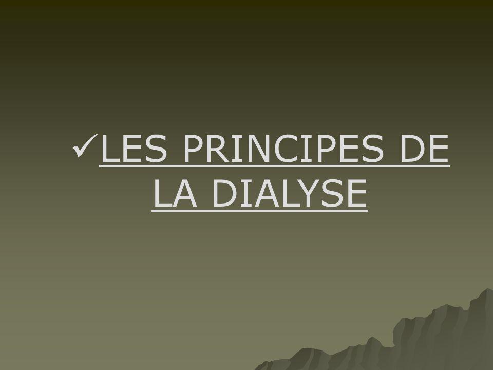  LES PRINCIPES DE LA DIALYSE