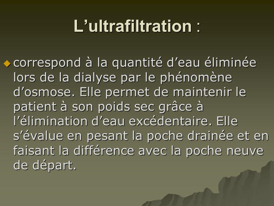 L'ultrafiltration :  correspond à la quantité d'eau éliminée lors de la dialyse par le phénomène d'osmose. Elle permet de maintenir le patient à son