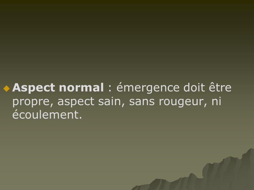 AAspect normal : émergence doit être propre, aspect sain, sans rougeur, ni écoulement.