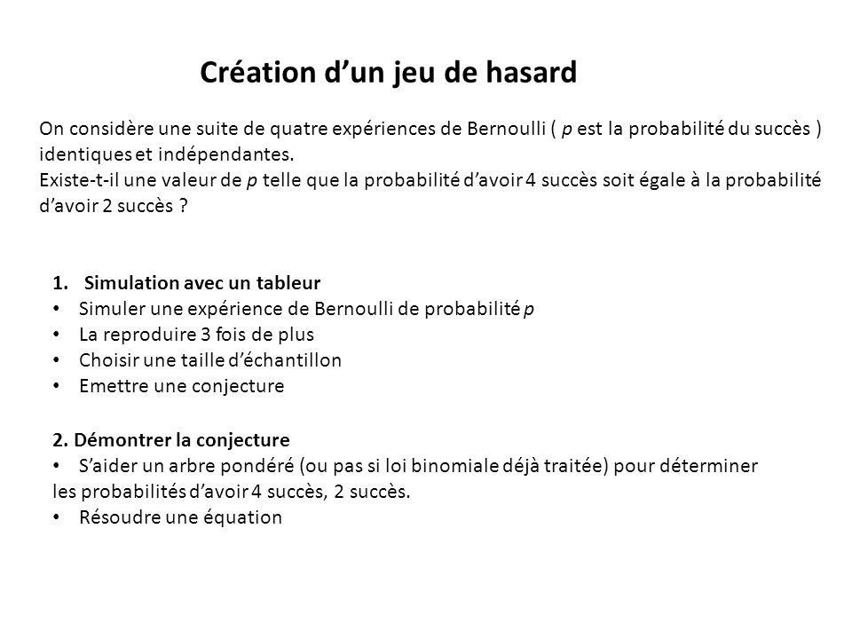 Création d'un jeu de hasard On considère une suite de quatre expériences de Bernoulli ( p est la probabilité du succès ) identiques et indépendantes.