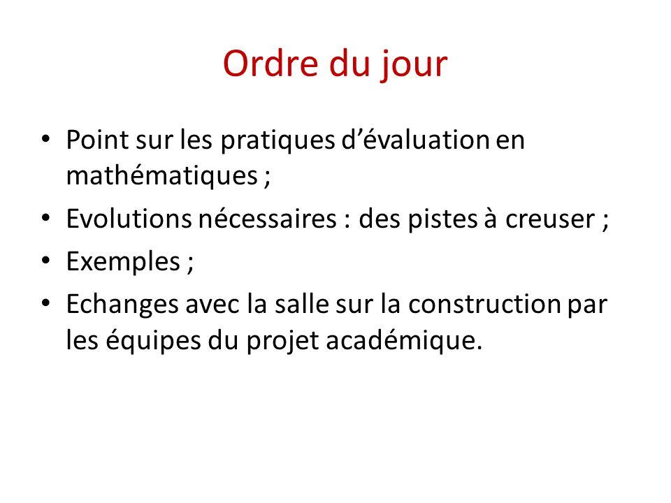 Ordre du jour • Point sur les pratiques d'évaluation en mathématiques ; • Evolutions nécessaires : des pistes à creuser ; • Exemples ; • Echanges avec la salle sur la construction par les équipes du projet académique.