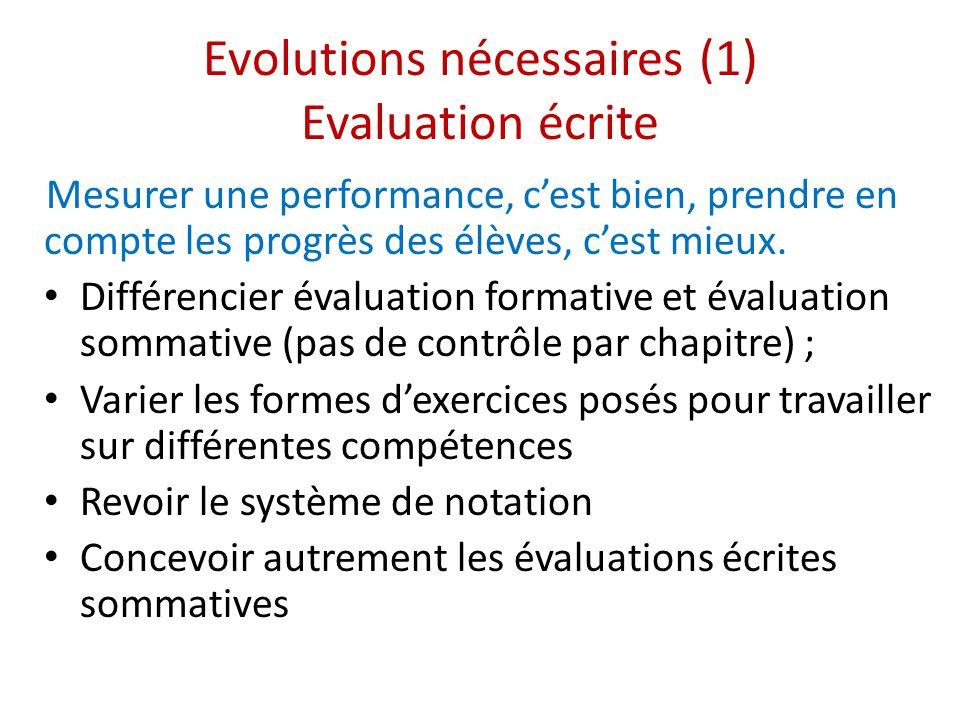 Evolutions nécessaires (1) Evaluation écrite Mesurer une performance, c'est bien, prendre en compte les progrès des élèves, c'est mieux.