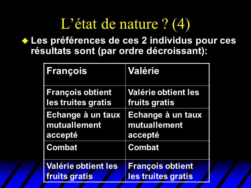 L'état de nature ? (4) u Les préférences de ces 2 individus pour ces résultats sont (par ordre décroissant): FrançoisValérie François obtient les trui