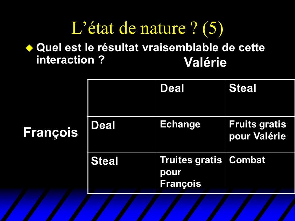 L'état de nature ? (5) u Quel est le résultat vraisemblable de cette interaction ? DealSteal Deal EchangeFruits gratis pour Valérie Steal Truites grat