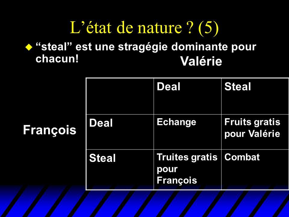 """L'état de nature ? (5) u """"steal"""" est une stragégie dominante pour chacun! DealSteal Deal EchangeFruits gratis pour Valérie Steal Truites gratis pour F"""