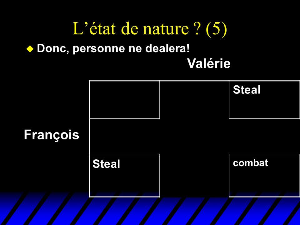 L'état de nature ? (5) u Donc, personne ne dealera! DealSteal Deal EchangeFruits gratis pour Valérie Steal Truites gratis pour François combat Françoi
