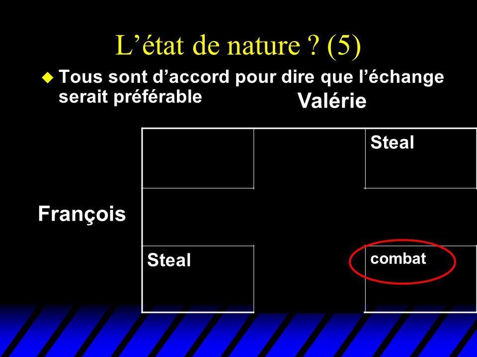 L'état de nature ? (5) u Tous sont d'accord pour dire que l'échange serait préférable DealSteal Deal EchangeFruits gratis pour Valérie Steal Truites g