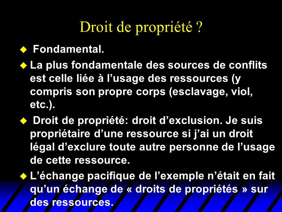 Droit de propriété ? u Fondamental. u La plus fondamentale des sources de conflits est celle liée à l'usage des ressources (y compris son propre corps