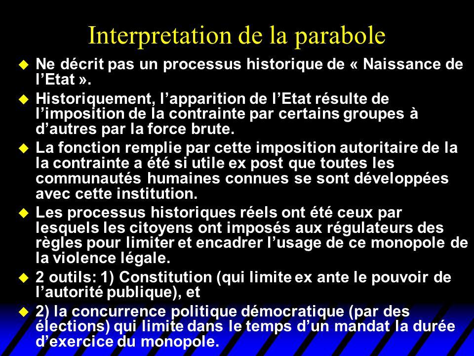 Interpretation de la parabole u Ne décrit pas un processus historique de « Naissance de l'Etat ». u Historiquement, l'apparition de l'Etat résulte de