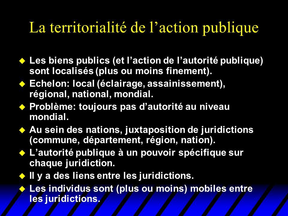 La territorialité de l'action publique u Les biens publics (et l'action de l'autorité publique) sont localisés (plus ou moins finement). u Echelon: lo