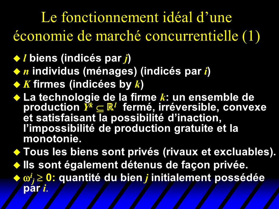 Le fonctionnement idéal d'une économie de marché concurrentielle (1)  l biens (indicés par j )  n individus (ménages) (indicés par i )  K firmes (i