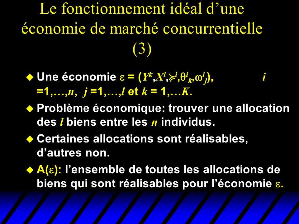 Le fonctionnement idéal d'une économie de marché concurrentielle (3)  Une économie  = ( Y k, X i,  i,  i k,  i j ), i =1,…, n, j =1,…, l et k = 1