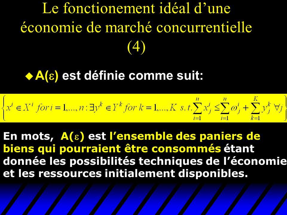 Le fonctionement idéal d'une économie de marché concurrentielle (4) u A(  ) est définie comme suit: En mots, A() est l'ensemble des paniers de biens