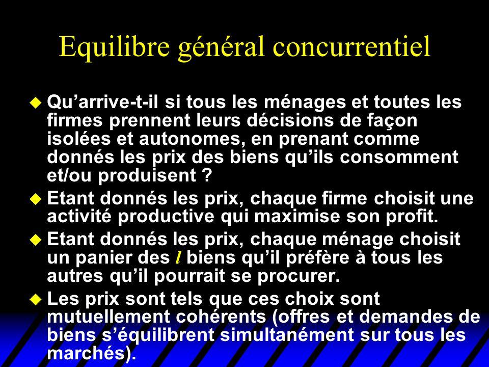 Equilibre général concurrentiel u Qu'arrive-t-il si tous les ménages et toutes les firmes prennent leurs décisions de façon isolées et autonomes, en p