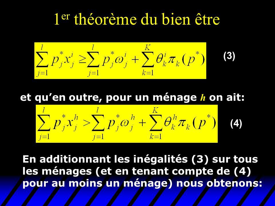 1 er théorème du bien être  et qu'en outre, pour un ménage h on ait: En additionnant les inégalités (3) sur tous les ménages (et en tenant compte de