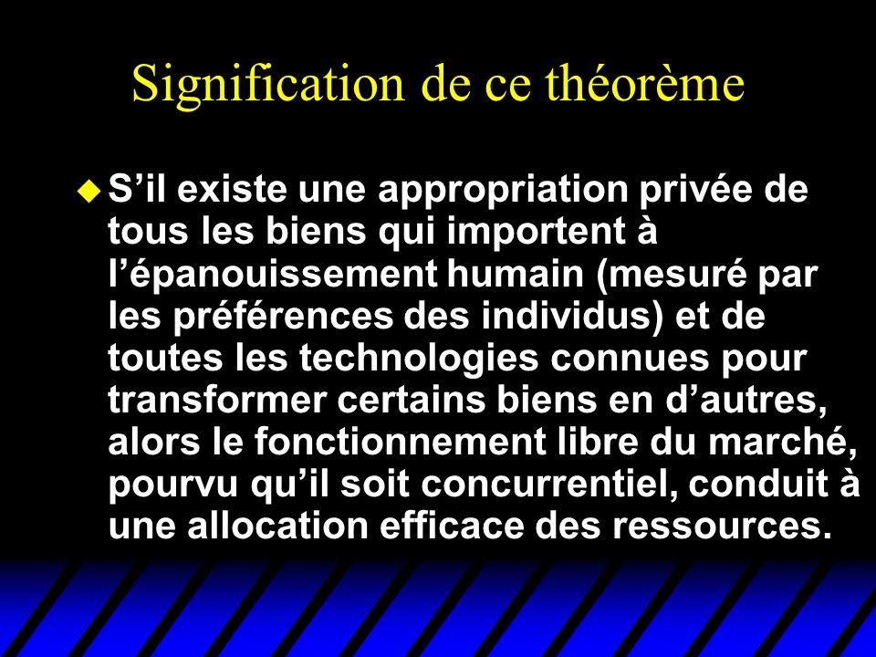 Signification de ce théorème u S'il existe une appropriation privée de tous les biens qui importent à l'épanouissement humain (mesuré par les préféren