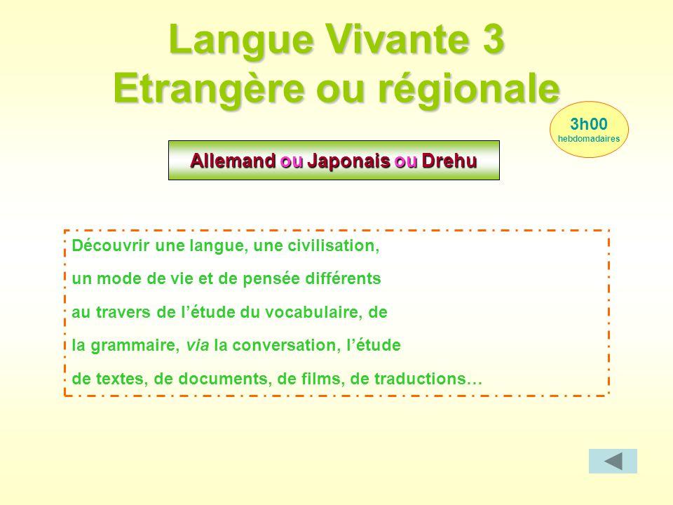 Langue Vivante 3 Etrangère ou régionale 3h00 hebdomadaires Allemand ou Japonais ou Drehu Découvrir une langue, une civilisation, un mode de vie et de