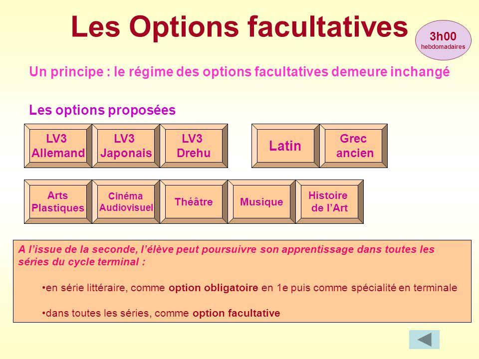 Les Options facultatives A l'issue de la seconde, l'élève peut poursuivre son apprentissage dans toutes les séries du cycle terminal : •en série litté