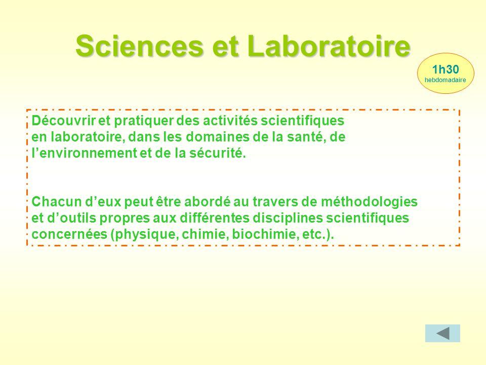 1h30 hebdomadaire Sciences et Laboratoire Découvrir et pratiquer des activités scientifiques en laboratoire, dans les domaines de la santé, de l'envir