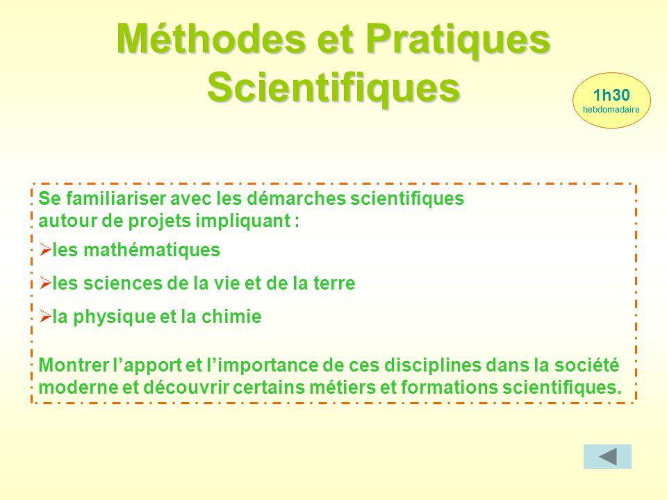 Méthodes et Pratiques Scientifiques 1h30 hebdomadaire Se familiariser avec les démarches scientifiques autour de projets impliquant :  les mathématiq