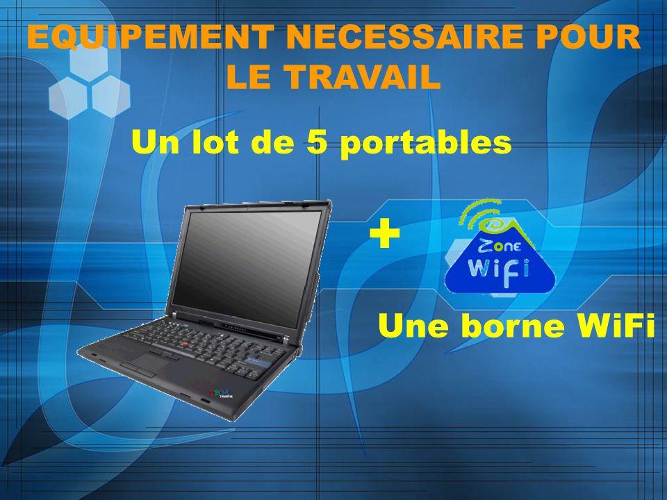 EQUIPEMENT NECESSAIRE POUR LE TRAVAIL Un lot de 5 portables + Une borne WiFi