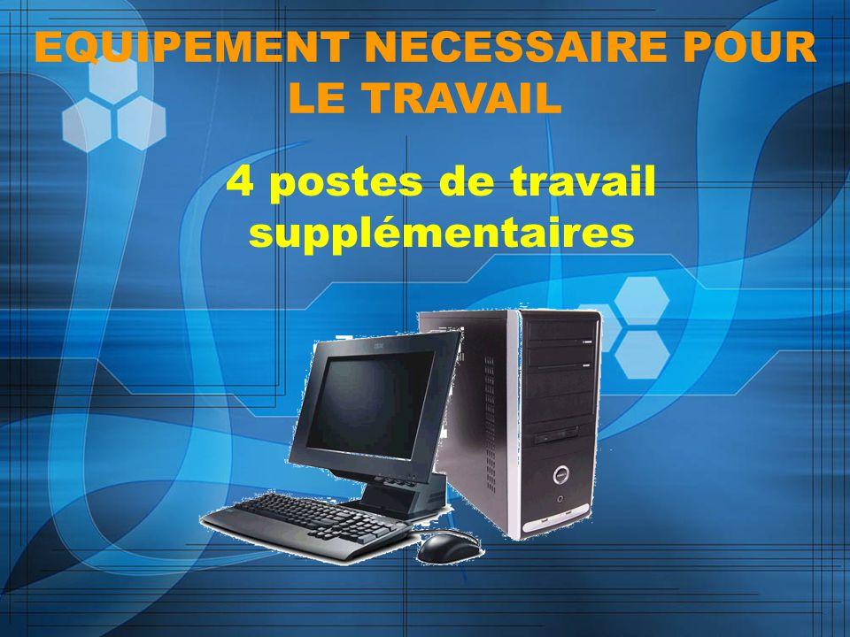 EQUIPEMENT NECESSAIRE POUR LE TRAVAIL 4 postes de travail supplémentaires