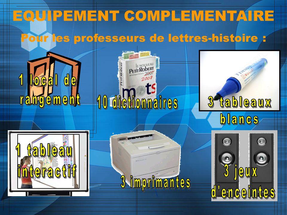 EQUIPEMENT COMPLEMENTAIRE Pour les professeurs de lettres-histoire :