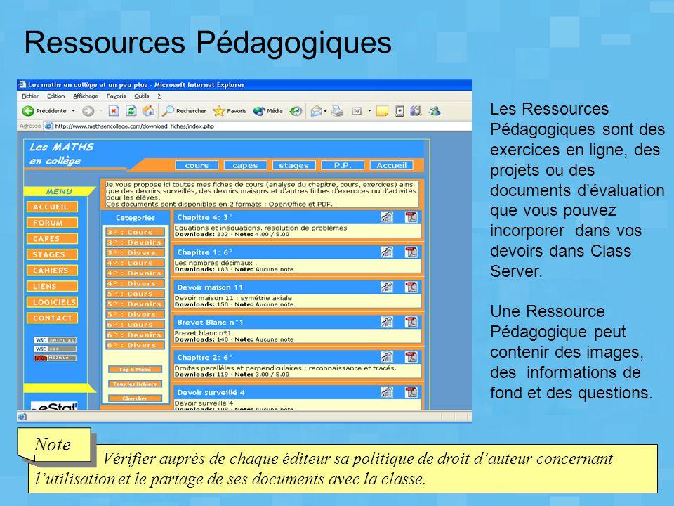 Vérifier auprès de chaque éditeur sa politique de droit d'auteur concernant l'utilisation et le partage de ses documents avec la classe. Note Les Ress