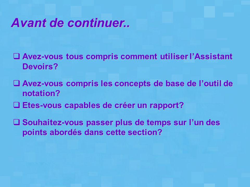 Avant de continuer..  Avez-vous tous compris comment utiliser l'Assistant Devoirs?  Avez-vous compris les concepts de base de l'outil de notation? 