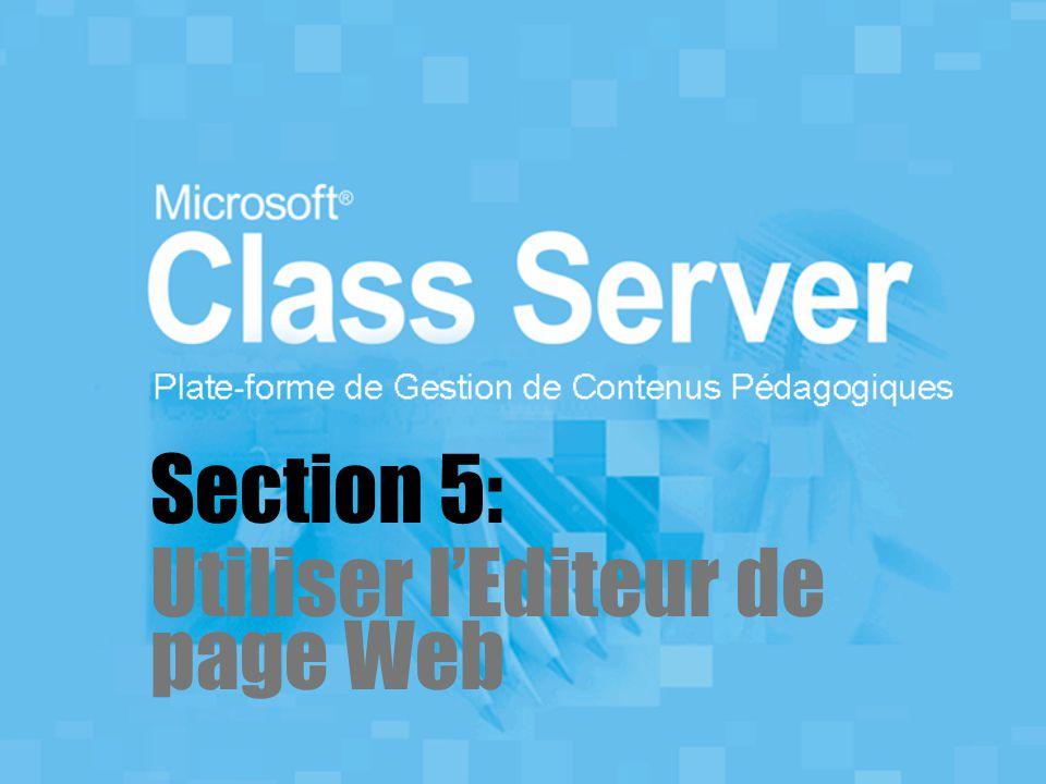 Section 5: Utiliser l'Editeur de page Web