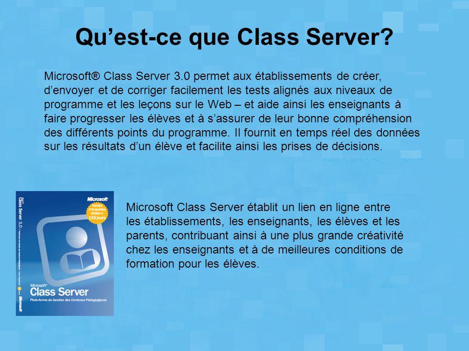 Microsoft® Class Server 3.0 permet aux établissements de créer, d'envoyer et de corriger facilement les tests alignés aux niveaux de programme et les