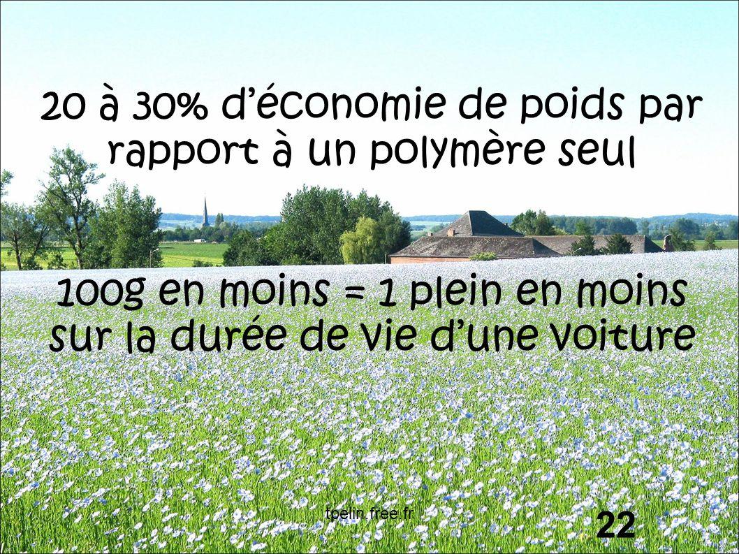 20 à 30% d'économie de poids par rapport à un polymère seul 100g en moins = 1 plein en moins sur la durée de vie d'une voiture 22 tpelin.free.fr