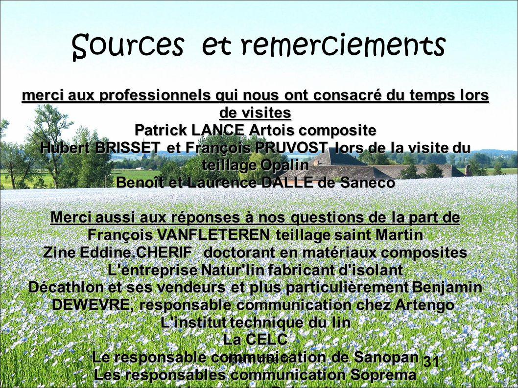 Sources et remerciements merci aux professionnels qui nous ont consacré du temps lors de visites Patrick LANCE Artois composite Hubert BRISSET et Fran