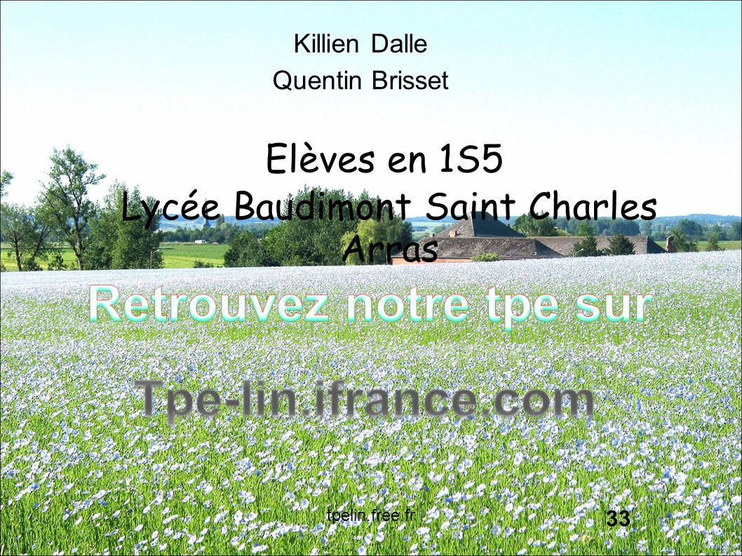 33 Killien Dalle Quentin Brisset Elèves en 1S5 Lycée Baudimont Saint Charles Arras tpelin.free.fr
