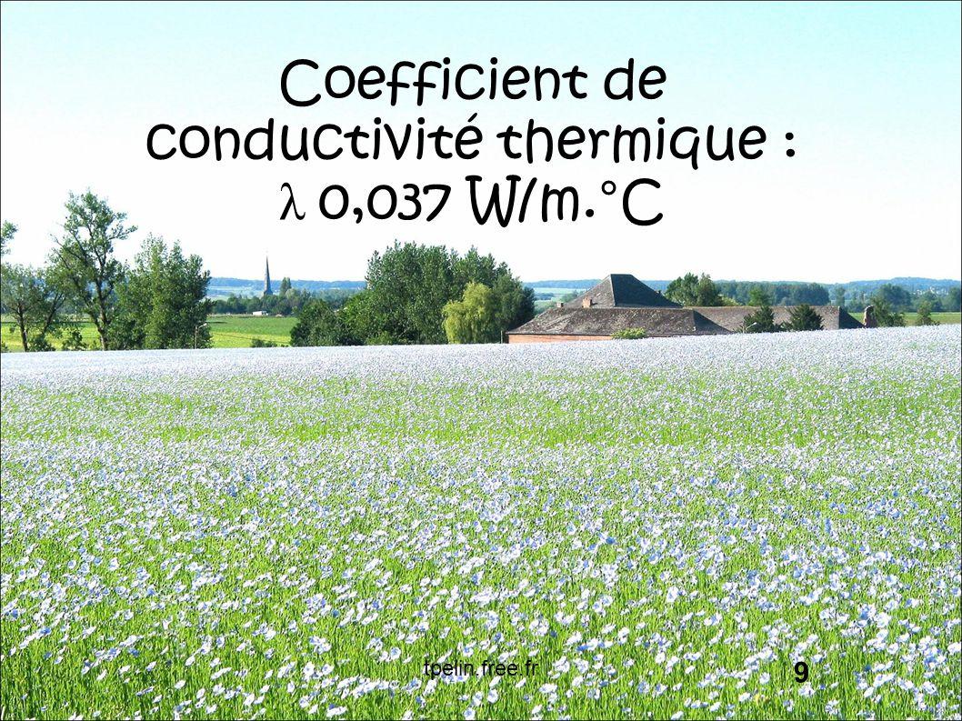 Coefficient de conductivité thermique : λ 0,037 W/m.°C 9 tpelin.free.fr