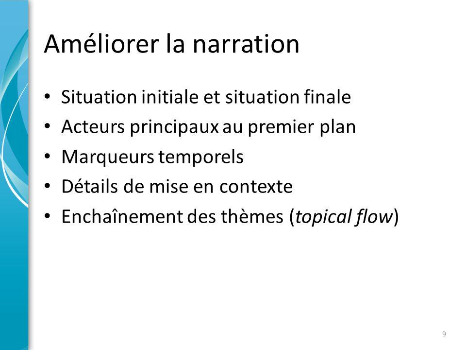 Améliorer la narration • Situation initiale et situation finale • Acteurs principaux au premier plan • Marqueurs temporels • Détails de mise en contexte • Enchaînement des thèmes (topical flow) 9