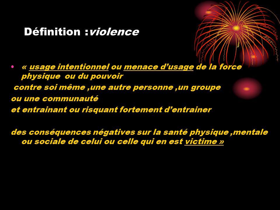 Définition :violence •« usage intentionnel ou menace d'usage de la force physique ou du pouvoir contre soi même,une autre personne,un groupe ou une co