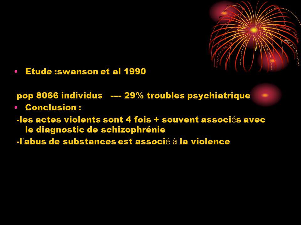 •Etude :swanson et al 1990 pop 8066 individus ---- 29% troubles psychiatrique •Conclusion : -les actes violents sont 4 fois + souvent associ é s avec