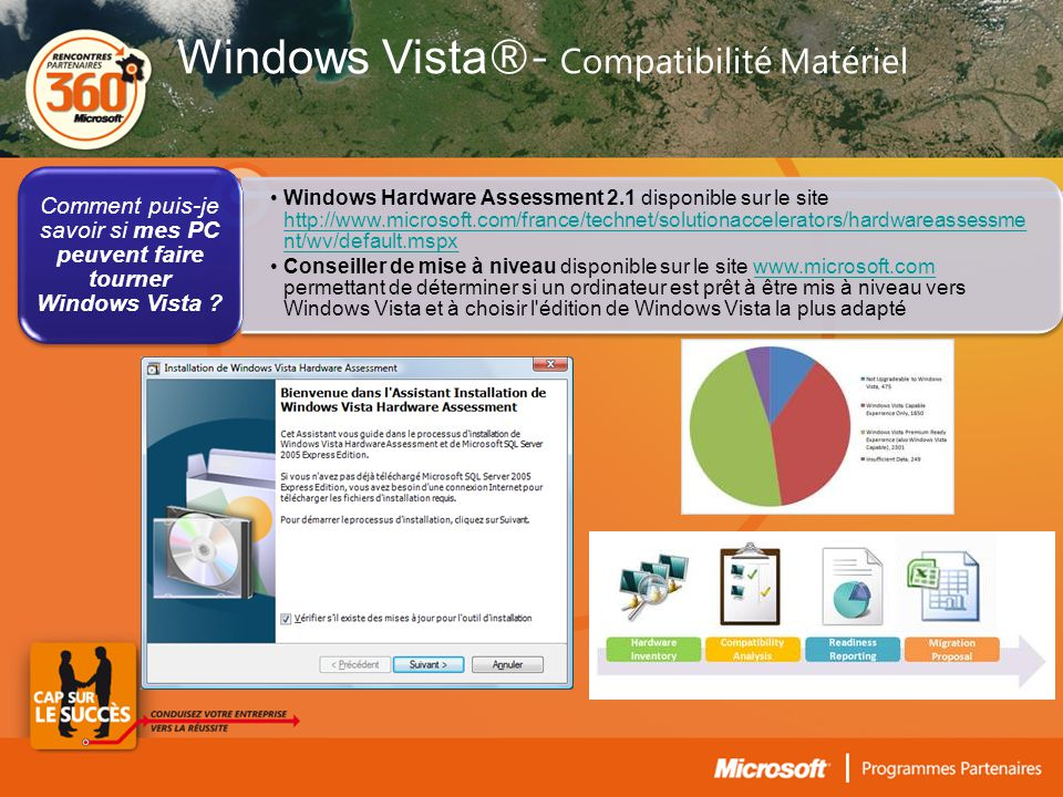 •Windows Hardware Assessment 2.1 disponible sur le site http://www.microsoft.com/france/technet/solutionaccelerators/hardwareassessme nt/wv/default.mspx http://www.microsoft.com/france/technet/solutionaccelerators/hardwareassessme nt/wv/default.mspx •Conseiller de mise à niveau disponible sur le site www.microsoft.com permettant de déterminer si un ordinateur est prêt à être mis à niveau vers Windows Vista et à choisir l édition de Windows Vista la plus adaptéwww.microsoft.com Comment puis-je savoir si mes PC peuvent faire tourner Windows Vista .