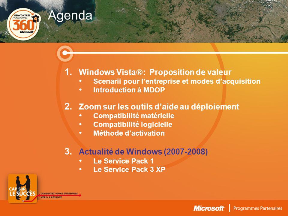 1. Windows Vista ® : Proposition de valeur • Scenarii pour l'entreprise et modes d'acquisition • Introduction à MDOP 2. Zoom sur les outils d'aide au