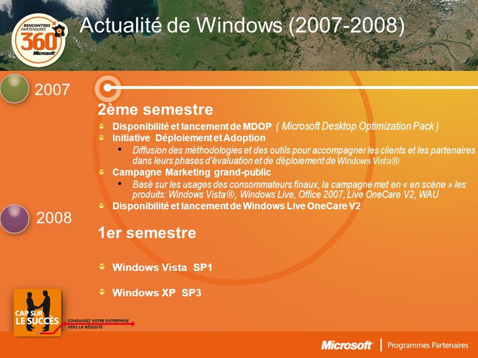 2ème semestre Disponibilité et lancement de MDOP ( Microsoft Desktop Optimization Pack ) Initiative Déploiement et Adoption • Diffusion des méthodologies et des outils pour accompagner les clients et les partenaires dans leurs phases d'évaluation et de déploiement de Windows Vista ® Campagne Marketing grand-public • Basé sur les usages des consommateurs finaux, la campagne met en « en scène » les produits: Windows Vista ®, Windows Live, Office 2007, Live OneCare V2, WAU Disponibilité et lancement de Windows Live OneCare V2 1er semestre Windows Vista SP1 Windows XP SP3 2007 2008 Actualité de Windows (2007-2008)