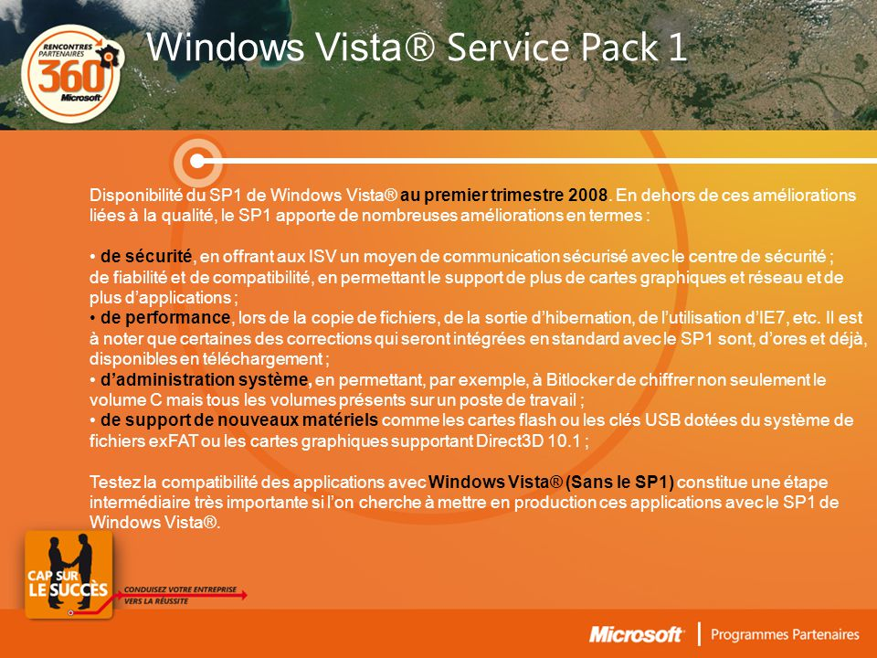Disponibilité du SP1 de Windows Vista® au premier trimestre 2008.