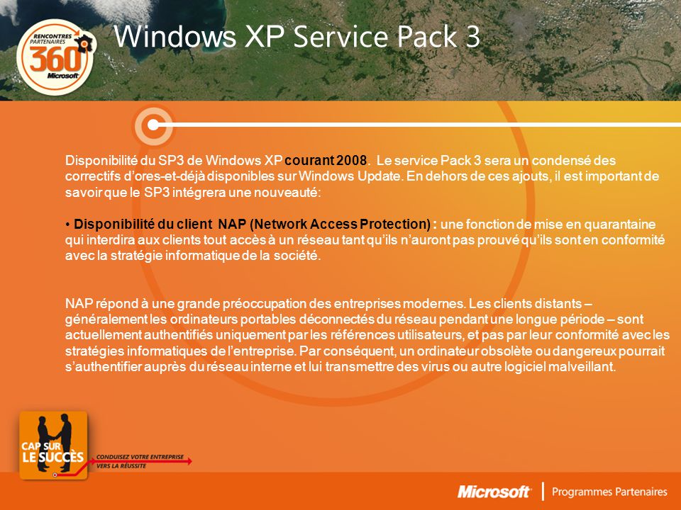 Disponibilité du SP3 de Windows XP courant 2008.