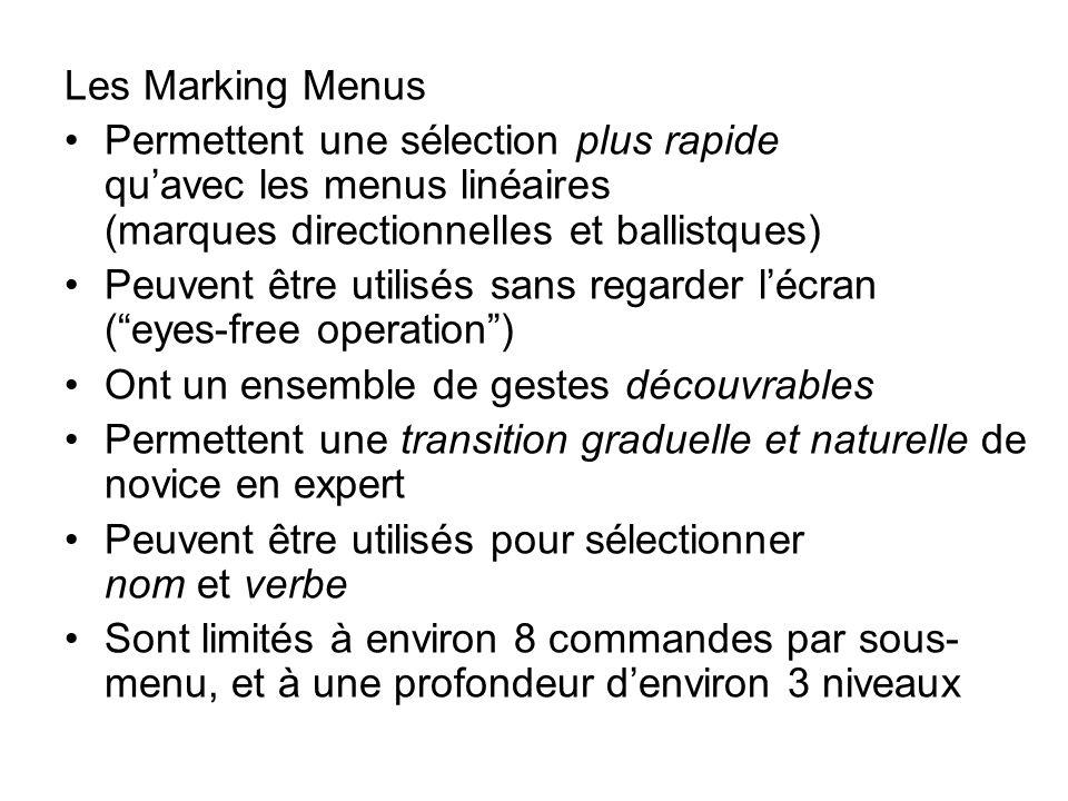 Les Marking Menus •Permettent une sélection plus rapide qu'avec les menus linéaires (marques directionnelles et ballistques) •Peuvent être utilisés sans regarder l'écran ( eyes-free operation ) •Ont un ensemble de gestes découvrables •Permettent une transition graduelle et naturelle de novice en expert •Peuvent être utilisés pour sélectionner nom et verbe •Sont limités à environ 8 commandes par sous- menu, et à une profondeur d'environ 3 niveaux