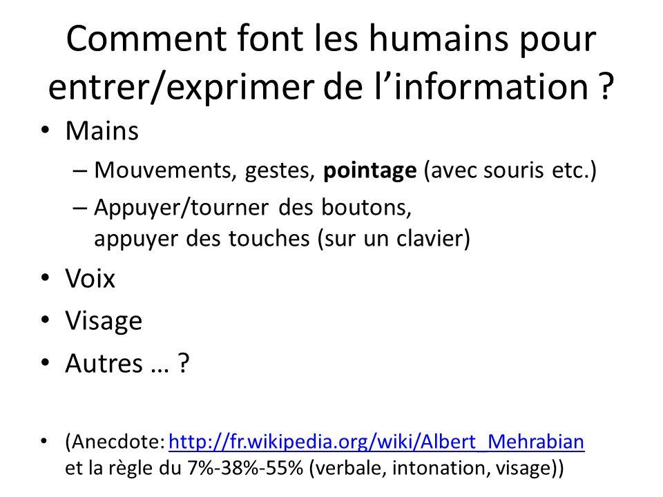 Comment font les humains pour entrer/exprimer de l'information .