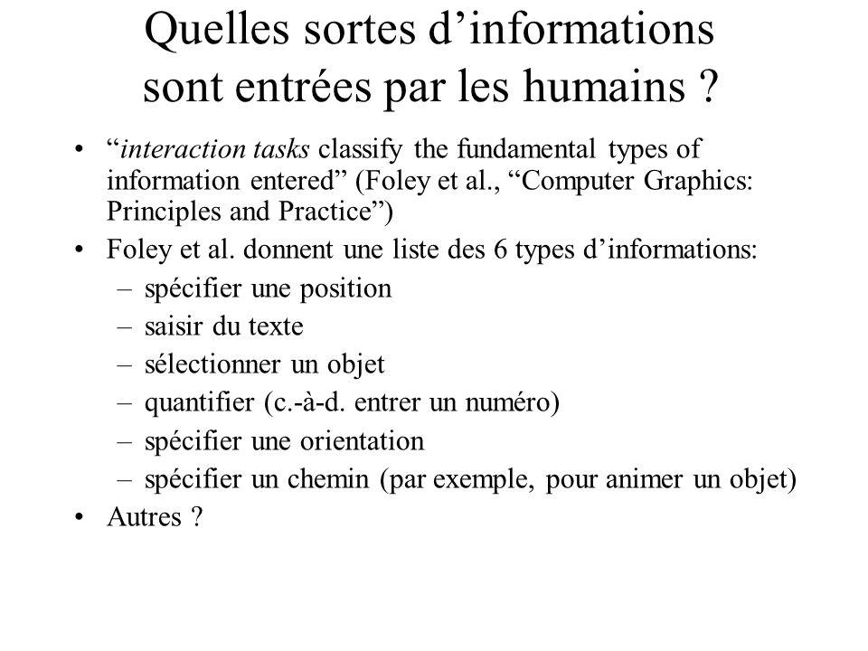 Quelles sortes d'informations sont entrées par les humains .